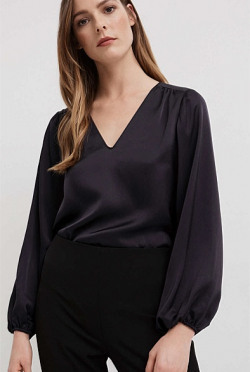 Satin Peasant Blouse | Tuggl
